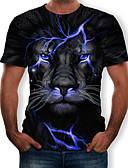 ราคาถูก เสื้อยืดและเสื้อกล้ามผู้ชาย-สำหรับผู้ชาย เสื้อเชิร์ต ลายพิมพ์ คอกลม 3D / สัตว์ สีดำ