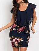 Χαμηλού Κόστους Print Dresses-Γυναικεία Κομψό Λεπτό Θήκη Φόρεμα - Φλοράλ, Λουλουδάτο Σιφόν Στάμπα Μίνι