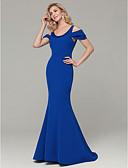 ราคาถูก Special Occasion Dresses-ทรัมเป็ต / เมอร์เมด คว้าน ชายกระโปรงลากพื้น สแปนเด็กซ์ ทางการ แต่งตัว กับ ของประดับด้วยลูกปัด โดย TS Couture®