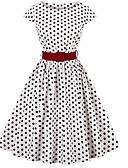 ราคาถูก ชุดเดรสวินเทจ-ชุดมิดี้แกว่งผู้หญิงสีขาวสีดำ s m l xl