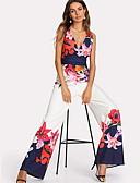 ราคาถูก จั๊มสูทและเสื้อคลุมสำหรับผู้หญิง-สำหรับผู้หญิง ลายดอกไม้ Kentucky Derby ทุกวัน สง่างาม คอวีลึก ขาว ขากว้าง ชุด Jumpsuits Onesie, ลายดอกไม้ S M L
