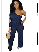 ราคาถูก จั๊มสูทและเสื้อคลุมสำหรับผู้หญิง-สำหรับผู้หญิง สีดำ สีแดงชมพู สีน้ำเงิน ขากว้าง ชุด Jumpsuits Onesie, สีพื้น ผ้าชีฟอง S M L ฤดูใบไม้ผลิ ฤดูร้อน ตก / ฤดูหนาว
