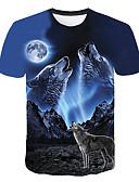 baratos Camisetas & Regatas Masculinas-Homens Camiseta - Bandagem Básico / Moda de Rua Estampado, Animal Decote Redondo Lobo Azul / Manga Curta