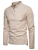 זול חולצות לגברים-אחיד צוארון עם כפתור מידות גדולות פשתן, חולצה - בגדי ריקוד גברים אפור כהה
