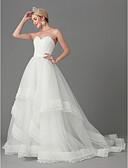 povoljno Vjenčanice-A-kroj Bez naramenica Srednji šlep Til Izrađene su mjere za vjenčanja s Drapirano padajuće po LAN TING BRIDE®