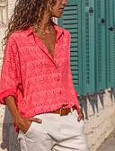 billige Gensere til damer-Skjortekrage Skjorte Dame - Stripet Rød