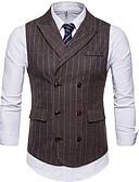 ราคาถูก เบลเซอร์ &สูทผู้ชาย-สำหรับผู้ชาย เสื้อกั๊ก ปกคอแบะของเสื้อแบบผ้าคลุม เส้นใยสังเคราะห์ สีน้ำตาล / เทาเข้ม