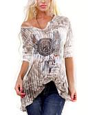 Χαμηλού Κόστους Μπλούζα-Γυναικεία T-shirt Γεωμετρικό Λαιμόκοψη V Θαλασσί