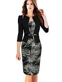 Χαμηλού Κόστους Επαγγελματικά Φορέματα-Γυναικεία Εφαρμοστό Φόρεμα - Φλοράλ Ως το Γόνατο