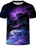 baratos Camisetas & Regatas Masculinas-Homens Camiseta Básico / Boho Estampado, Galáxia / 3D Decote Redondo Arco-íris / Manga Curta