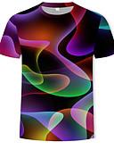 זול טישרטים לגופיות לגברים-גיאומטרי / 3D צווארון עגול בסיסי / סגנון רחוב טישרט - בגדי ריקוד גברים דפוס קשת / שרוולים קצרים / קיץ