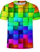 billige T-skjorter og singleter til herrer-Rund hals T-skjorte Herre - Geometrisk / 3D, Trykt mønster Regnbue / Kortermet