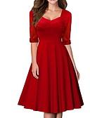 baratos Vestidos Vintage-Mulheres Elegante Evasê Vestido Sólido Decote Quadrado Altura dos Joelhos