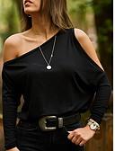 ราคาถูก เสื้อผู้หญิง-สำหรับผู้หญิง เชิร์ต ไหล่เดียว หลวม สีพื้น สีดำ