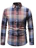 ราคาถูก เสื้อเชิ้ตผู้ชาย-สำหรับผู้ชาย ขนาดของยุโรป / อเมริกา เชิร์ต ฝ้าย ลายพิมพ์ ปกคลาสสิค ลายสก็อต / หมากรุก ใบไม้สีเขียวที่มีสามแฉก