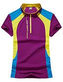 ราคาถูก ถุงเท้าและชุดชั้นใน-สำหรับผู้หญิง Hiking T-shirt แขนสั้น กลางแจ้ง ระบายอากาศ Fast Dry เสื้อยึด Tops ฤดูใบไม้ผลิ ฤดูร้อน Terylene Polyester Taffeta ปกตั้ง สีม่วง สีบานเย็น ฟ้า ชุดลำลอง เทนนิส แคมป์ปิ้ง / ผสมยางยืดไมโคร