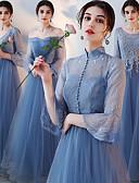 ราคาถูก Special Occasion Dresses-A-line คอตั้ง ต่ำกว่าเข่า / ลากพื้น Tulle เพื่อนเจ้าสาวชุด กับ เข็มกลัด / ลูกไม้ โดย LAN TING Express