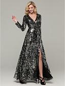 baratos Vestidos de Noite-Linha A Decote mergulhador Longo Paetês Brilho & Glitter Evento Formal Vestido 2020 com Fenda Frontal / Paetês