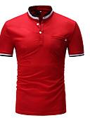 ราคาถูก เสื้อยืดและเสื้อกล้ามผู้ชาย-สำหรับผู้ชาย เสื้อเชิร์ต คอกลม เพรียวบาง ลายบล็อคสี ขาว