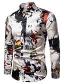 ราคาถูก เสื้อเชิ้ตผู้ชาย-สำหรับผู้ชาย เชิร์ต Street Chic ปาร์ตี้ ลายพิมพ์ ปกคลาสสิค Abstract สีเทา / แขนยาว