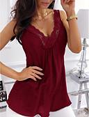Χαμηλού Κόστους Φορέματα-Γυναικεία Μεγάλα Μεγέθη Αμάνικη Μπλούζα Μονόχρωμο Λαιμόκοψη V Δαντέλα Βυσσινί