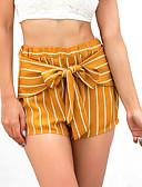 ราคาถูก กางเกงผู้หญิง-สำหรับผู้หญิง เซ็กซี่ กางเกงขาสั้น กางเกง - ลายแถบ สีเหลือง S M L