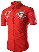 זול חולצות לגברים-אותיות רזה חולצה - בגדי ריקוד גברים שחור / שרוולים קצרים