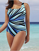 זול בגדי ים במידות גדולות-שחור XXXL XXXXL XXXXXL גיאומטרי, בגדי ים חלק אחד (שלם) שחור כחול בהיר חום בהיר בסיסי בגדי ריקוד נשים