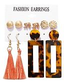 baratos Coletes-Mulheres Brincos Set Franjas Elefante Barroco Europeu Resina Brincos Jóias Dourado Para Diário Bagels 5 pares
