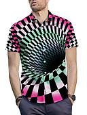 ราคาถูก เสื้อเชิ้ตผู้ชาย-สำหรับผู้ชาย เชิร์ต ลายพิมพ์ ปกกว้าง รูปเรขาคณิต / 3D / หมากรุก สายรุ้ง / แขนสั้น / ฤดูร้อน