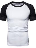 baratos Camisas Masculinas-Homens Camiseta Sólido / Estampa Colorida Algodão Decote Redondo Vermelho