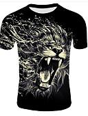 povoljno Muške majice i potkošulje-Veći konfekcijski brojevi Majica s rukavima Muškarci Životinja Okrugli izrez Print Crn