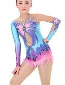 povoljno Klizačke haljine-Triko za ritmičku gimnastiku Trikoi za ritmičku gimnastiku Žene Djevojčice Triko za vježbanje Dark Blue Visoka elastičnost Ručno izrađen Izgled dijamanta Sjenčanje Dugih rukava Natjecanje Balet