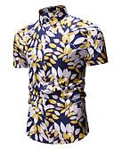 baratos Camisas Masculinas-Homens Camisa Social Estampado, Árvores / Folhas Colarinho Clássico Dourado / Manga Curta