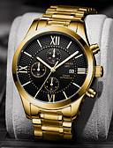 ราคาถูก นาฬิกาข้อมือหรูหรา-สำหรับผู้ชาย นาฬิกาตกแต่งข้อมือ นาฬิกาอิเล็กทรอนิกส์ (Quartz) สแตนเลส เงิน / ทอง กันน้ำ ปฏิทิน Creative ระบบอนาล็อก ความหรูหรา แฟชั่น - ขาว สีดำ สีทอง+สีดำ