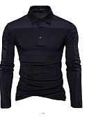 olcso Férfi pólók-Állógallér Férfi Pamut Polo - Egyszínű Fekete