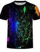 ราคาถูก เสื้อยืดและเสื้อกล้ามผู้ชาย-สำหรับผู้ชาย เสื้อเชิร์ต ฝ้าย ลายพิมพ์ คอกลม สายรุ้ง สีดำ