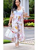 ราคาถูก เซตชุดทูพีซสำหรับผู้หญิง-สำหรับผู้หญิง ยาว ชุด - ลายดอกไม้ กางเกง ลายพิมพ์