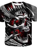 billige Hettegensere og gensere til herrer-Bomull Rund hals T-skjorte Herre - Fargeblokk / 3D / Hodeskaller, Trykt mønster Grå