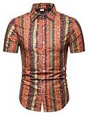 ราคาถูก เสื้อเชิ้ตผู้ชาย-สำหรับผู้ชาย ขนาดพิเศษ เชิร์ต Street Chic ชายหาด ปกคลาสสิค เพรียวบาง ลายบล็อคสี ทับทิม / แขนสั้น