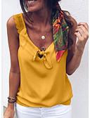 billige Skjorter til damer-Med stropper Store størrelser Singleter Dame - Ensfarget, Blonde Hvit / Vår / Sommer