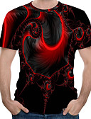 ราคาถูก เสื้อยืดและเสื้อกล้ามผู้ชาย-สำหรับผู้ชาย เสื้อเชิร์ต คอกลม 3D ทับทิม