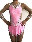 זול חדר כושר-בגדי גוף קצביים להתעמלות בגדי גוף אמנותיים להתעמלות בגדי ריקוד נשים בנות בגד גוף ורוד מסמיק גמישות גבוהה עבודת יד הצללה שרוול ארוך תחרות בלט ריקוד אימון