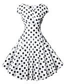 ราคาถูก ชุดเดรสวินเทจ-สำหรับผู้หญิง วินเทจ 1950s รูปตัว เอ แต่งตัว - ลายพิมพ์ ห่อ, ลายจุด ยาวถึงเข่า คอวี