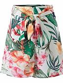 ราคาถูก กางเกงขาสั้น-สำหรับผู้หญิง พื้นฐาน เพรียวบาง กางเกงขาสั้น กางเกง - ลายดอกไม้ ใบไม้สีเขียวที่มีสามแฉก S M L