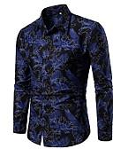 ราคาถูก เสื้อเชิ้ตผู้ชาย-สำหรับผู้ชาย เชิร์ต เพรียวบาง ลายดอกไม้ สีน้ำเงิน