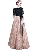 billige Ballkjoler-A-linje Besmykket Gulvlang Blonder Elegant Formell kveld / Bryllupsfest Kjole 2020 med Broderi