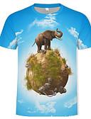 ราคาถูก เสื้อยืดและเสื้อกล้ามผู้ชาย-สำหรับผู้ชาย เสื้อเชิร์ต ฝ้าย คอกลม 3D / สัตว์ สีฟ้า
