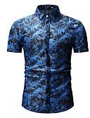 povoljno Muške košulje-Majica Muškarci Cvjetni print Slim Plava