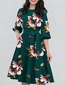 olcso Női ruhák-Női Elegáns A-vonalú Ruha Virágos Térdig érő